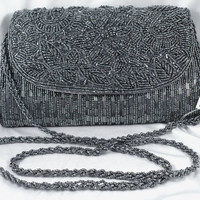 "Stunning Charcoal Gray Evening Bag - Hand-Beaded, Shoulder Strap, Schmidty, ""New Old Stock"""