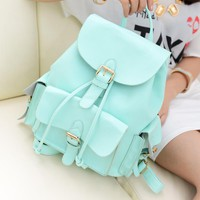 Mint Blue Sweet Candy Colored School Backpack