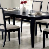 Extendable Dining Table Contemporary Style Distressed Black Finish
