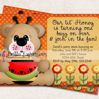 Honey Bee Birthday Party Invitation, watermelon, teddy bear, bee, picnic (Digital File)