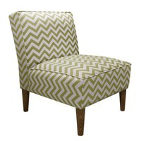 Skyline Furniture Armless Cone Leg Chair in Zig Zag Chartreuse