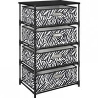 Altra Furniture 4-Bin Storage End Table in Black and Zebra Print:Amazon:Home & Kitchen