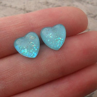 heart studs blue with iridescent glitter  glass by addieladawn