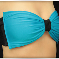 by (ColdReef) Bow Bandeau Blue Bikini Bikini Top Women Spandex Swimsuit Strappless Bra
