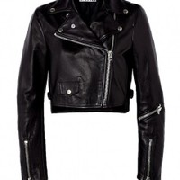 Black Cropped Leather Biker Jacket by Acne