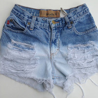 High Waisted Ombre Shorts Vintage