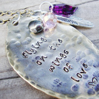 On the wings of love upcycled tea spoon hammered hand stamped personalized crystal and freshwater pearl