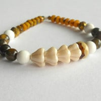 Golden Autumn Gemstone Beaded Stretch Bracelet - Boho / Healing Jewelry / Wealth Bracelet / Gift Ideas