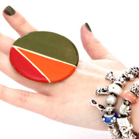 Trendy Item Fall Fashion Ring Handmade - oversize bold adjustable statement cocktail ring - FALL COLORS 2013 -   2.5 inch