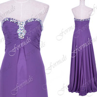 A Line Strapless with Crystal Chiffon Purple Long Prom Dresses, Purple Evening Gown, Long Prom Gown, Formal Gown, Wedding Party Dresses