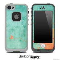 Vintage Green and Orange Pattern Skin for the iPhone 5 or 4/4s LifeProof Case - iPhone