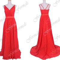 Straps V Neck Chiffon Red Long Prom Dresses, Red Carpet Dresses, Red Evening Gown, Wedding Party Dresses