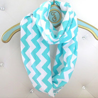Tiffany Blue Chevron infinity soft jersey loop scarf-Ready to ship