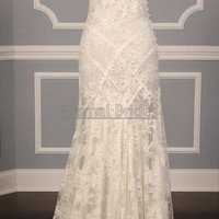 Cap Sleeves V neckline Lace Sheath Wedding Dress sweep train