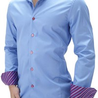 "Stone Rose ""MIA MM42"" Blue Luxury Shirt with Magenta Buttons & Stitching (3XL)"