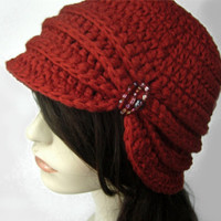 Vintage Inspired Cloche Hat with Glass Beading- Rust Red - Made to Order