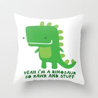 Rawr and Stuff Throw Pillow by LookHUMAN