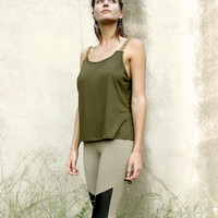 MACRAME CAMISOLE Olive Green low back
