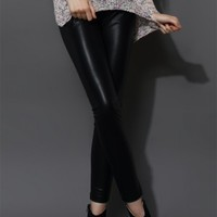 Faux Leather Leggings in Black Black