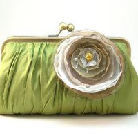 Pretty Pleats Clutch Purse Apple Green by DavieandChiyo on Etsy