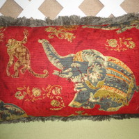 Patchwork Elephant Pillow Cover Red-Orange, Grey-Blue, Olive and Gold