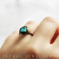 Turquoise Howlite Ring, wire wrapped ring, rustic ring, handmade jewelry, unique ring, custom size