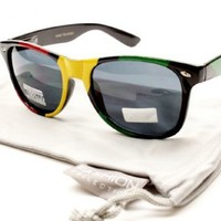W54 Rasta Wayfarer Black/green/yellow/red Sunglasses W Gray Pouch:Amazon:Clothing