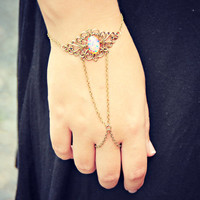 pink opal ornate filigree slave bracelet, ring bracelet, slave ring, unique bracelet, opal ring