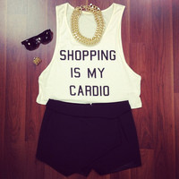 Shopping is My Cardio Tank - Furor Moda - Tops - Dresses - Jackets - Vintage