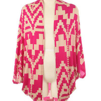 Peace Treaty Aztec Print Kimono - Magenta -  $40.00 | Daily Chic Tops | International Shipping