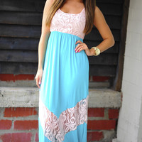 All Outta Love Maxi Dress: Baby Pink/Teal | Hope's