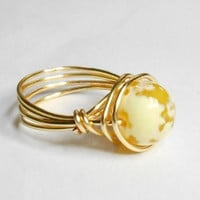 Yellow White Fire Agate Gemstone Gold Wire Wrapped Ring Sizes 1-14