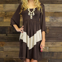 Aspen Breeze Brown Chevron Dress