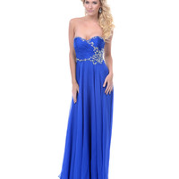 Royal Blue Chiffon Rhinestone Strapless Prom Dress - Unique Vintage - Prom dresses, retro dresses, retro swimsuits.