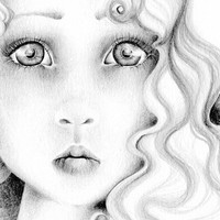Pencil Drawing OOAK an Original Pencil Drawing Fine Art Fantasy Illustration / Drawing  Black and White grey ohtteam