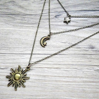 sun, moon & star triple layered necklace