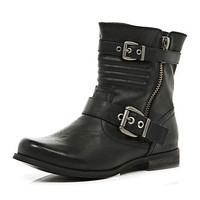 Black quilted double buckle biker boots