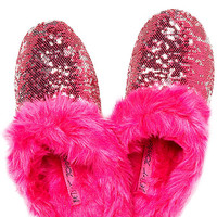 BetseyJohnson.com - SEQUIN SCUFF SLIPPER WITH FUR FUCHSIA