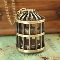 Retro bird cage pocket watch necklace with a lovely antique bronze bird in by mosnos