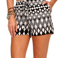 Black/Ivory Diamond Shorts