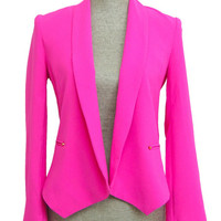 As Good As It Gets Cropped Jacket - Hot Pink -  $56.00 | Daily Chic Tops | International Shipping