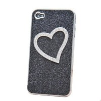 Shiny Heart-shaped Relief Frosted Hard Cover Case for Iphone 4/4s
