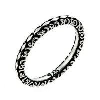 2.5mm Antiqued Marquis Flora Design Stackable Sterling Silver Ring:Amazon:Jewelry