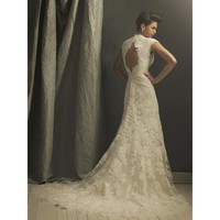 Romantic Lace Appliqué Sheath Vintage Wedding Dresses Cap Sleeves