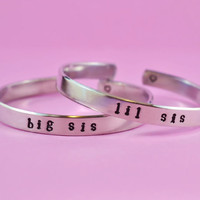 big sis / lil sis  -  Hand Stamped Aluminum Cuff Bracelets Set, Newsprint Font, Forever Love, Friendship, BFF, V2