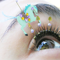 Carousel Horse Eyelash Jewelry - merry go round themed false eyelashes with hand painted horses