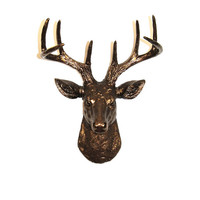 White Faux Taxidermy - The MINI Bennett - Bronze Resin Deer Head- Stag Resin Bronze Faux Taxidermy- Chic & Trendy