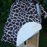 Baby Car Seat Cover Brown Cream Giraffe Minky Car Seat Canopy