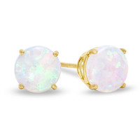 6mm Synthetic Opal Stud Earrings in 10K Gold -  - View All - PAGODA.COM