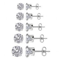 TDEZ-ROUND-SET Nickel Free Sterling Silver 3mm 4mm 5mm 6mm & 7mm Round Sparkling Clear Cubic Zirconia Stud Earrings Set:Amazon:Jewelry